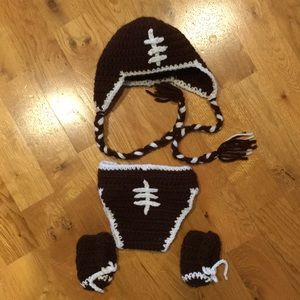 Knitted newborn football outfit